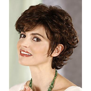 Συνθετικές Περούκες Σγουρά Γυναικεία Χωρίς κάλυμμα Κοντό Συνθετικά μαλλιά
