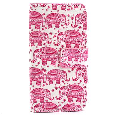 Para Capinha iPhone 5 Case Tampa Porta-Cartão Carteira Com Suporte Flip Estampada Corpo Inteiro Capinha Elefante Rígida Couro Ecológico