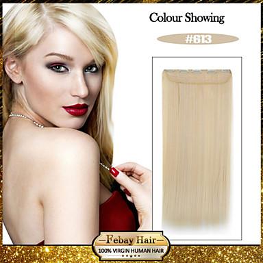 Loiro lixívia reta 5 clips de comprimento (# 613) grampo de cabelo sintético em extensões de cabelo para senhoras