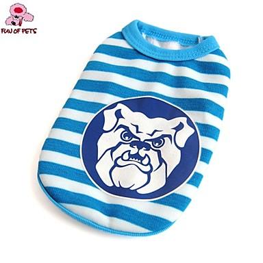 Γάτα Σκύλος Φανέλα Ρούχα για σκύλους Καθημερινά Ριγέ Μπλε Στολές Για κατοικίδια
