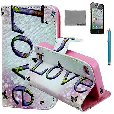 coco fun® horizontale liefde patroon pu lederen tas met screen protector en usb-kabel en stylus voor iPhone 4 / 4s