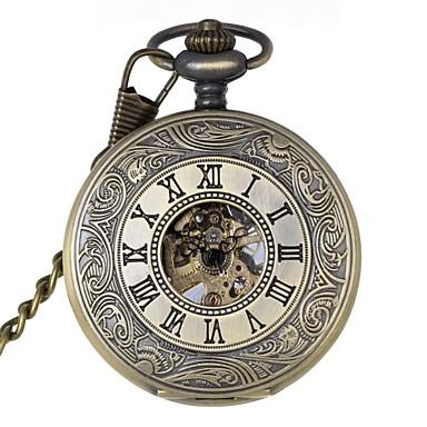Homens relógio mecânico Relógio de Bolso Mecânico - de dar corda manualmente Gravação Oca Lega Banda Luxo Bronze