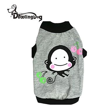 Kat Hond T-shirt Hondenkleding Cartoon Grijs Katoen Kostuum Voor huisdieren