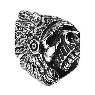 للرجال خاتم الفولاذ المقاوم للصدأ الصلب التيتانيوم تصفيح بطلاء الفضة جمجمة مجوهرات الهالووين يوميا فضفاض الرياضة
