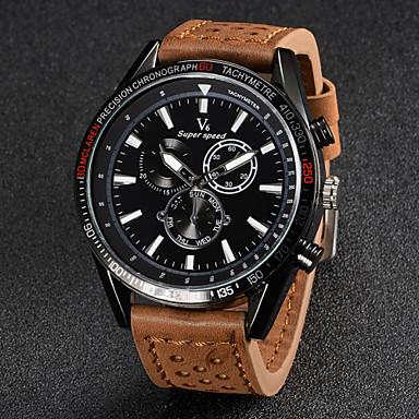 levne Pánské-V6 Pánské Náramkové hodinky Letecké hodinky Křemenný Japonské Quartz Kůže Černá / Hnědá / Khaki Hodinky na běžné nošení Analogové Přívěšky - Černá Hnědá Khaki Dva roky Životnost baterie