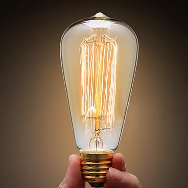 Ecolight™ 1pc 40W E27 E26/E27 ST64 Warm White 2300 K Incandescent Vintage Edison Light Bulb AC 220-240V V