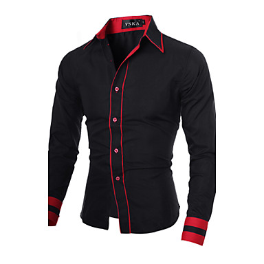 Men's Work Business Plus Size Cotton Slim Shirt - Solid Colored Black & Red, Basic Spread Collar / Long Sleeve / Spring / Fall