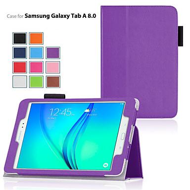 voordelige Samsung Tab-serie hoesjes / covers-hoesje Voor Samsung Galaxy / Tabblad Een 8.0 / Tabblad Een 9.7 met standaard / Flip Volledig hoesje Effen PU-nahka