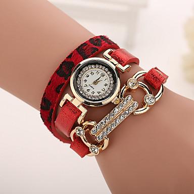 Dames Modieus horloge Armbandhorloge Kwarts Vrijetijdshorloge imitatie Diamond Leer Band Luipaard Zwart Wit Blauw Rood Bruin Grijs Roze