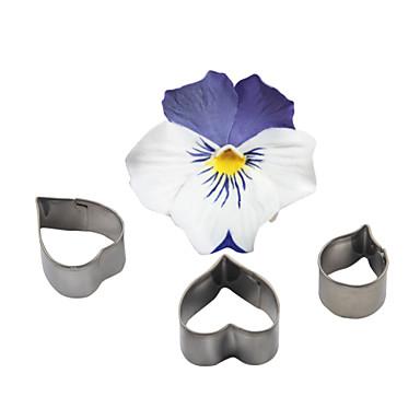 Four-C ferramentas moldes de cozimento molde ofício açúcar cortador de aço inoxidável flor do coração fondant queque bolinho de decoração