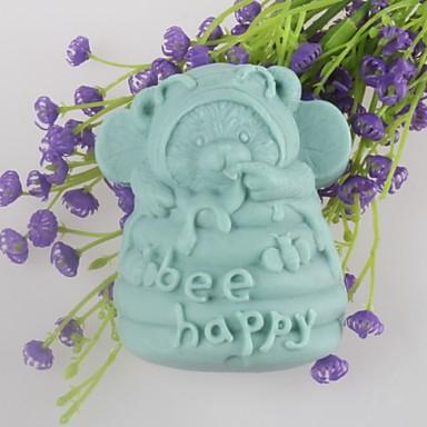 urso feliz moldes de sabão em forma de bolo de chocolate fondant molde de silicone abelha, ferramentas de decoração bakeware