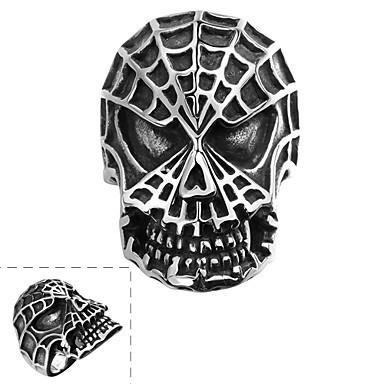 Yüzük Paslanmaz Çelik Skull shape Moda Gümüş Mücevher Halloween Günlük Spor 1pc