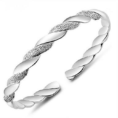 Femme Manchettes Bracelets Bracelets Vintage - Argent sterling Basique Bracelet Argent Pour Quotidien Décontracté Sports