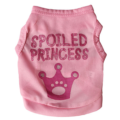 cheap Dog Clothing & Accessories-Cat Dog Shirt / T-Shirt Dog Clothes Tiaras & Crowns Letter & Number Rose Pink Terylene Costume For Spring &  Fall Summer Men's Women's Fashion