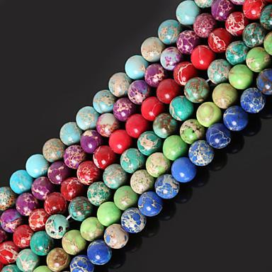 beadia 1str (περίπου 47pcs) 8 χιλιοστών γύρο φυσικό λίθινες χάντρες βαμμένα χάντρες ίασπη χρώματα της θάλασσας ιζήματα