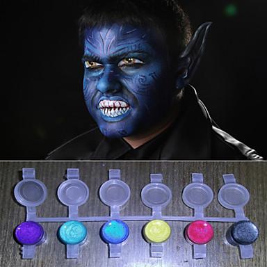 gezicht verven magische parel licht schijnt kleuren pigment halloween body painting gezicht deco (8 kleuren een set met hulpmiddelen)