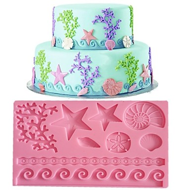 rendas fondant molde do bolo decoração do molde cor aleatória fm-09