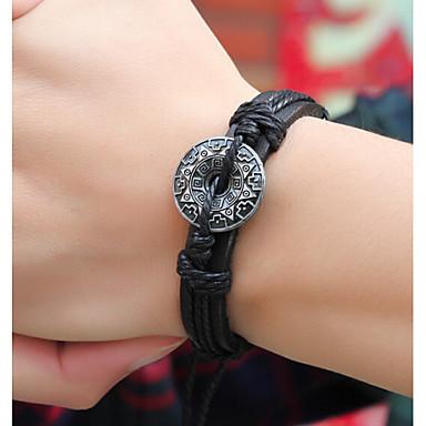 Heren Dames Lederen armbanden Leder Legering Zwart Koffie Sieraden Voor Dagelijks Causaal 1 stuks