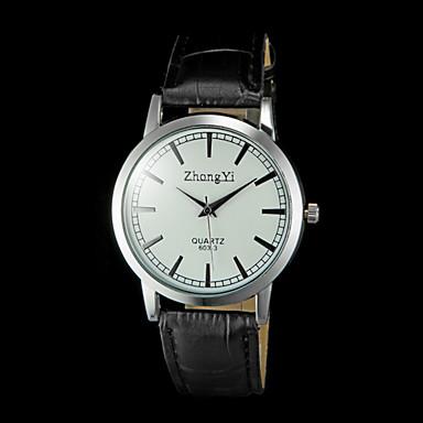 남성용 손목 시계 석영 퀼트 인조 가죽 블랙 / 브라운 캐쥬얼 시계 아날로그 참 클래식 - 블랙 브라운
