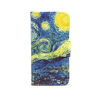 sterrenhemel bloemen patroon pu lederen full body case met kaartslot en staan voor iphone 5c
