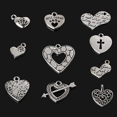 Bedels / Hangers Metaal Heart Shape als afbeelding 4-21pcs