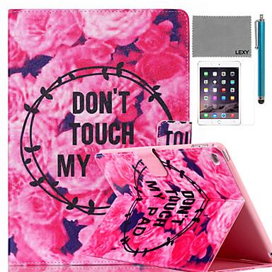 lexy® padrão de flores história caso estande da aleta de couro pu com protetor de tela e caneta para iPad mini 4