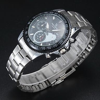 V6 Erkek Elbise Saat Quartz Japon Kuvartz Alaşım Bant Gümüş Gümüş
