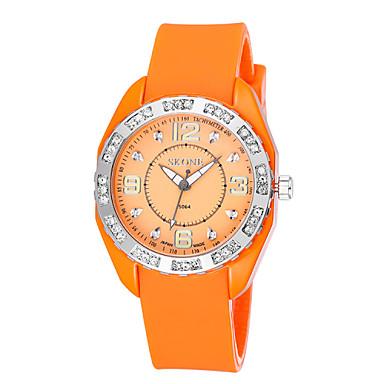 24448680 SKONE Dame Moteklokke Simulert Diamant Klokke Quartz Silikon Band Hvit Blå  Rød Oransje Grønn Lilla Gul