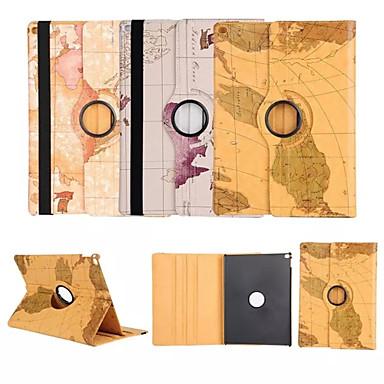 wereldkaart 360⁰ case design stand-functie van hoge kwaliteit pu leren tas voor iPad 4/3/2