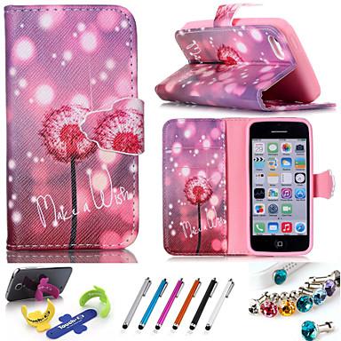 teste padrão geométrico pu telefone coldre de couro inclui suporte anti-poeira plugue caneta, uma variedade de cores para iPhone 5 / 5s