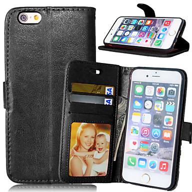 hoesje Voor iPhone 6 iPhone 6 Plus Portemonnee Kaarthouder met standaard Flip Volledige behuizing Effen Kleur Hard PU-leer voor iPhone 6s