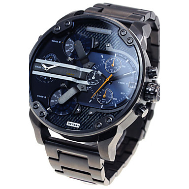 cheap Men's Stainless Steel Watches-Men's Military Watch Wrist Watch Steel Band Watches Oversized Black Calendar / date / day Dual Time Zones Cool Analog Luxury Classic Vintage Casual - Blue Grey Gold / Black Two Years Battery Life