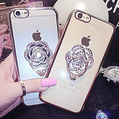 Για Θήκη iPhone 6 / Θήκη iPhone 6 Plus Στρας / Επιμεταλλωμένη / Βάση δαχτυλιδιών tok Πίσω Κάλυμμα tok Λουλούδι Σκληρή ΜεταλλικόiPhone 6s