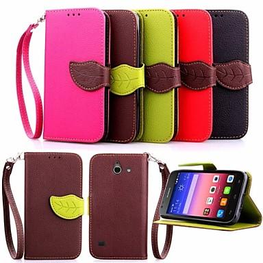 teste padrão da folha estojo de couro pu carteira com linha de mão para Huawei p8 Lite / P8 / G6 / G7 / Y550 (cores sortidas)