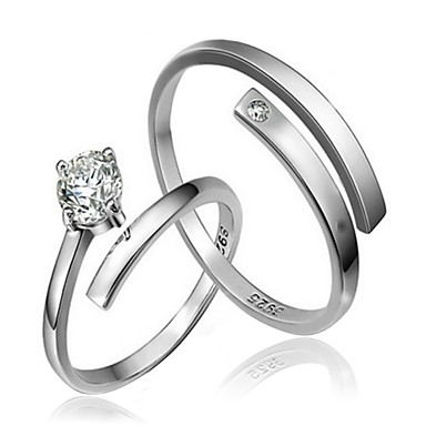 00b6dd410e Couple's Couple Rings Sterling Silver Fashion Ring Jewelry Silver For  Wedding Party Daily Casual Adjustable /