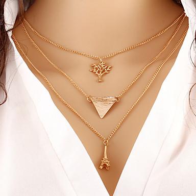 Mulheres colares em camadas - Fashion Dourado Colar Para Diário