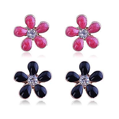 Oorknopjes Luxe Sieraden Kristal Verguld imitatie Diamond Bloemvorm Zwart Oranje Blauw Sieraden Voor Feest Dagelijks Causaal 1 Set