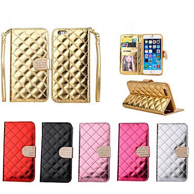 botão de Bling do diamante de luxo verifique a superfície brilhante caso estande pu carteira de couro para iphone 6 mais / 6s mais (cores