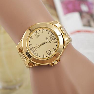 Heren Dames Voor Stel Modieus horloge Kwarts Zwitsers Designer Legering Band Goud Goud Wit