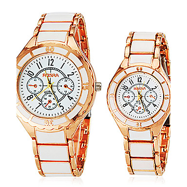 Men's Women's Couple's Dress Watch Fashion Watch Quartz Hot Sale Alloy Band Charm White