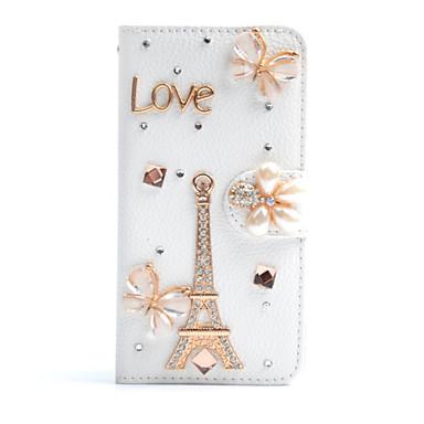Voor Samsung Galaxy Note Kaarthouder / Strass / met standaard / Flip hoesje Volledige behuizing hoesje Eiffeltoren PU-leer SamsungNote 5