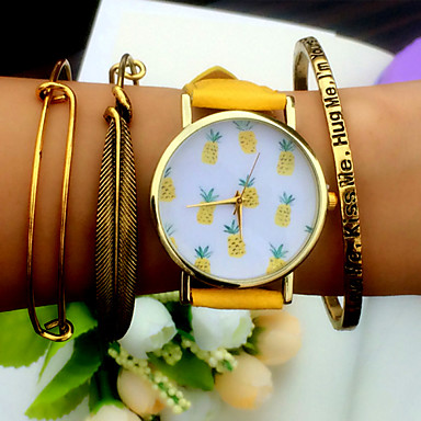 Mulheres Quartzo Bracele Relógio Cronógrafo PU Banda Amuleto Fashion Preta Branco Marrom Verde Amarelo