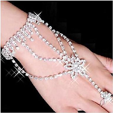 Dames Strass Verzilverd Gesimuleerde diamant Ster Ringarmbanden Wikkelarmbanden - Wit Armbanden Voor Feest Dagelijks