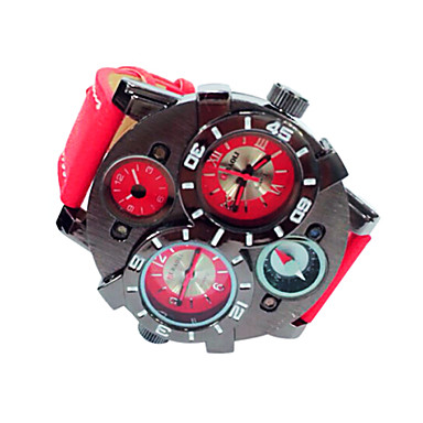 JUBAOLI Homens Relógio de Pulso Relógio Militar Quartzo Calendário Couro Banda Preta Azul Vermelho Marrom Azul Marinho