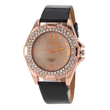 Dames Modieus horloge Kwarts PU Band Glitter Zwart Wit Rood Bruin Zwart Rood Groen Roze