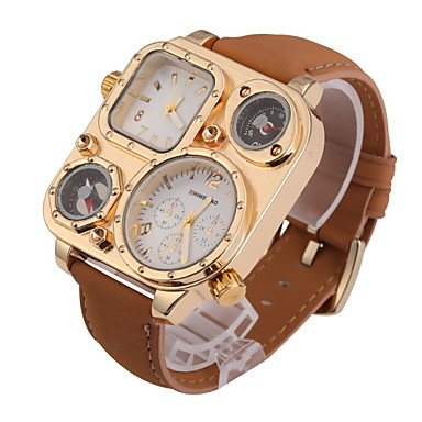 Men's Quartz Wrist Watch Dual Time Zones Leather Band Charm Khaki