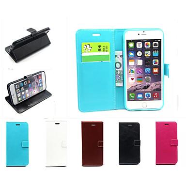 couro pu casos cartão de cor sólida ranhura carteira com casos estande corpo inteiro para o iPhone 6 / 6s mais (cores sortidas)