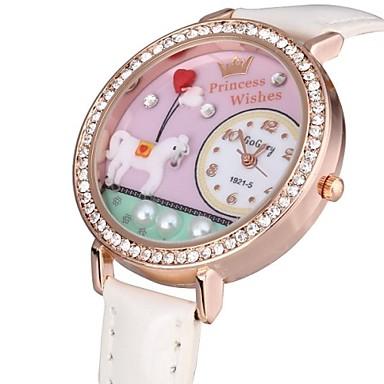 Dames Modieus horloge Kwarts PU Band Bloem Glitter Zwart Wit Rood Bruin