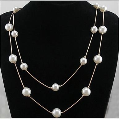 Mulheres Pérola Longas Colares Declaração / colares em camadas / Colar com Pérolas - Pérola Dupla camada, Fashion Pearl White Colar Para