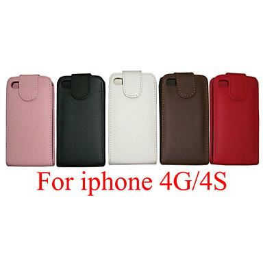 pu leer up down flip mobiele huid geval dekking voor iPhone 4 / 4s (assorti kleur)